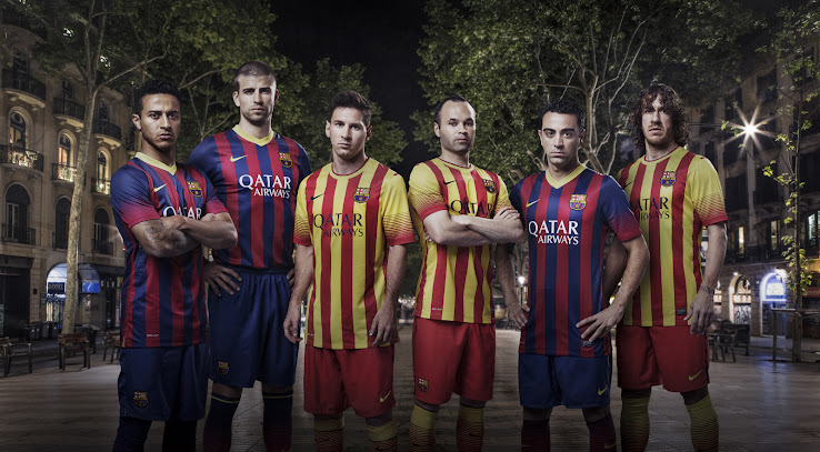 fbe09916158 FC Barcelona 2013-14 Home and Away Kits released. Barcelona 13-14 Kits are  made by Nike and sponsored by Qatar Airways, the first commercial shirt  sponsor ...