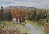 Exercice en Gaspésie, huile 5 x 7 par Clémence St-Laurent - homme marchant derrière son cheval en automne dans la campagne