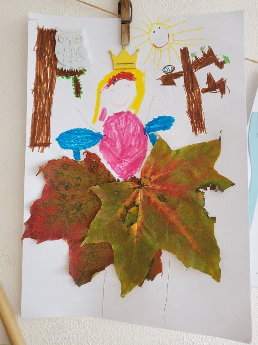 tvoření s dětmi podzimní víla z listí