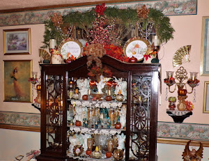 Autumn Elegance Vignettes and Hutch in the Living Room