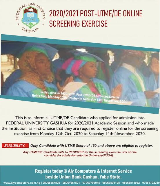 FUGashua Post-UTME & DE Screening Form 2020/2021