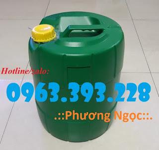 Can nhựa đựng hóa chất, can nhựa HDPE, can có nắp chống tràn 18L