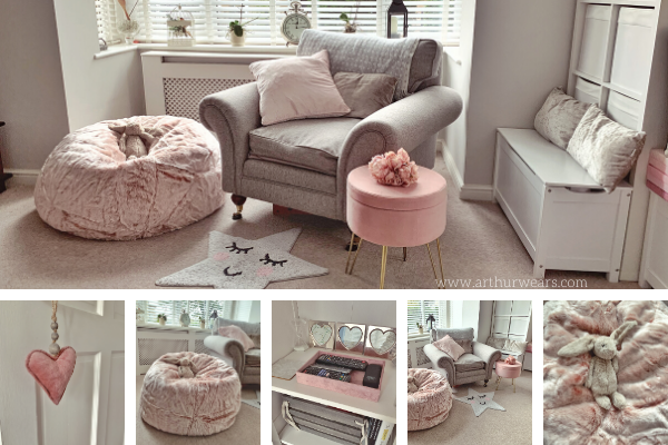 Dusky blush rose pink and grey lounge sitting room with faux fur pink beanbag