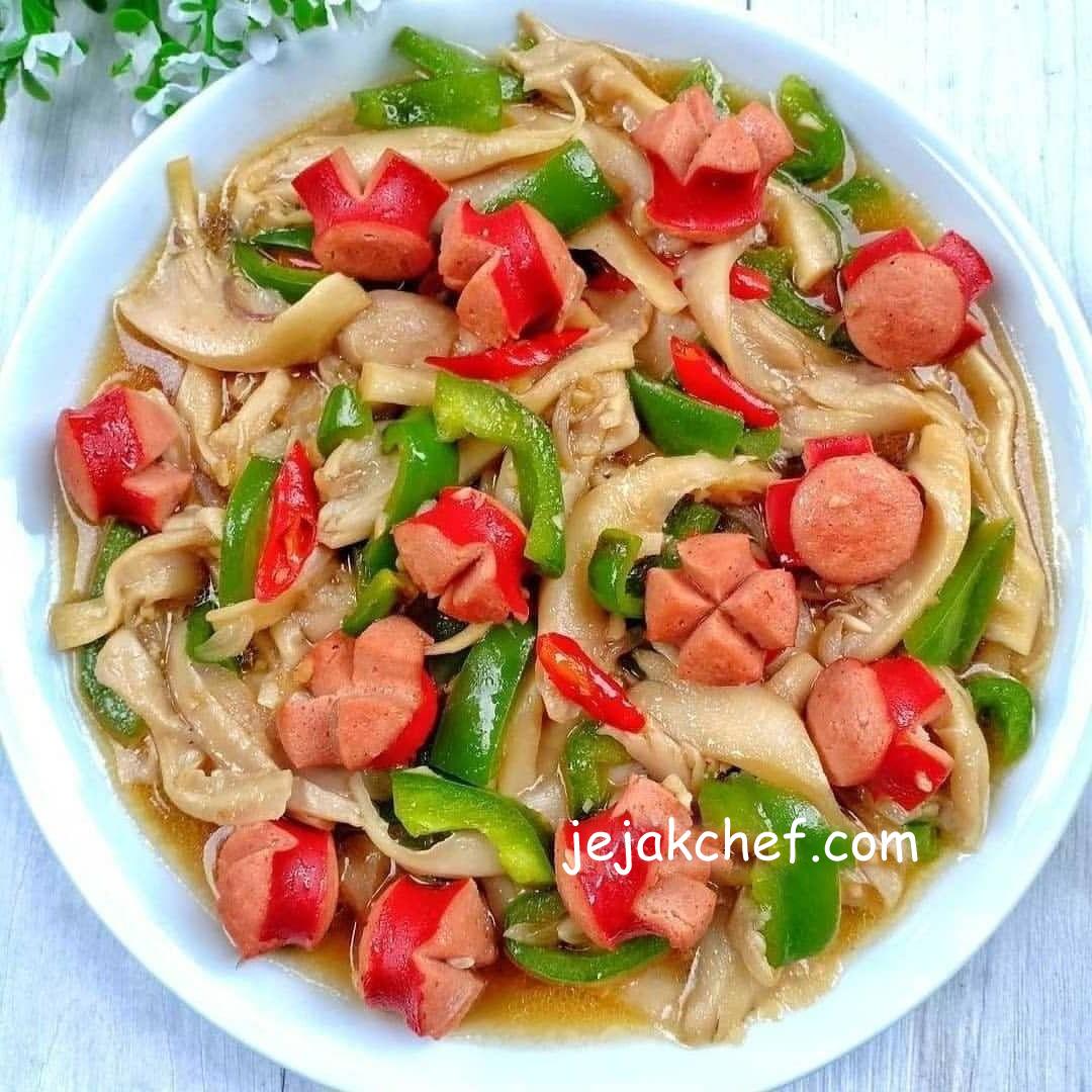 Resep Masakan Rumahan TUMIS JAMUR SOSIS Enak, Mudah, Sederhana dan