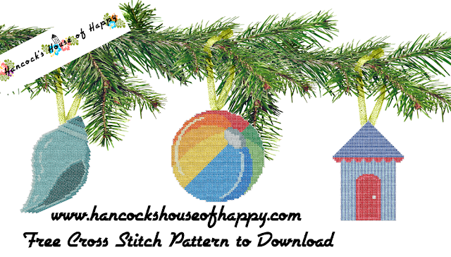 Christmas at the Beach! Beach Cross Stitch Patterns for Christmas Tree Decorations.
