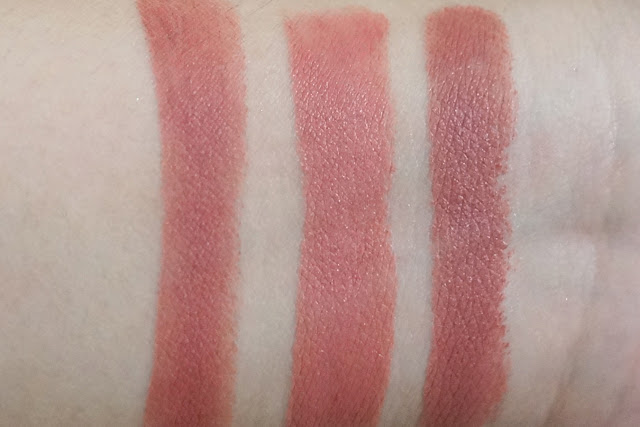 Swatch Comparison: (L-R) Colourpop Brink, MAC Kinda Sexy, MAC Velvet Teddy