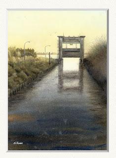 水彩画 「黄昏 水門」