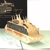 3D Klappkarte mit Kreuzfahrtschiff