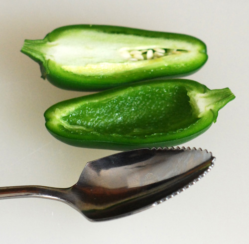 cored jalapeno, how to clean out a jalapeno