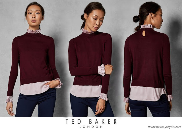 Princess Stephanie wore Ted Baker Pleated Neck Collar Jumper