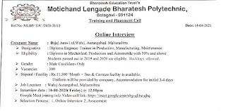Diploma Holders Online Jobs Campus Placement Drive For Bajaj Auto Ltd, Aurangabad, Maharashtra Company
