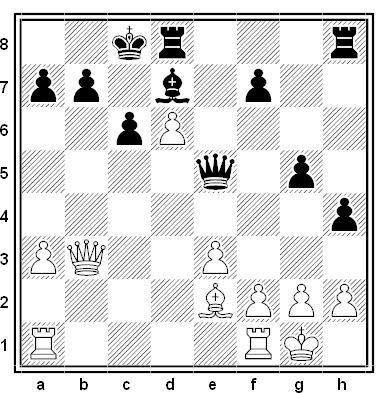 Posición de la partida de ajedrez Tibor Karolyi Jr. - Mordechai Shrentzel (Tel Aviv BIKURI, 1990)