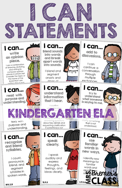 These Kindergarten 'I Can' statement charts are perfect to display on an objective board or a focus board! The charts will provide your students with visual reminders about what skills to work on, and keep you, as the teacher, accountable and on track with the learning focus. This pack includes charts for all of the Kindergarten Common Core ELA Standards! #commoncore #icanstatements #kindergarten #icancharts #bulletinboards #classcharts #backtoschool #kliteracy #kindergartenliteracy