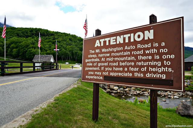 Advertencia al Comienzo de Subida a la Cima de Mount Washington