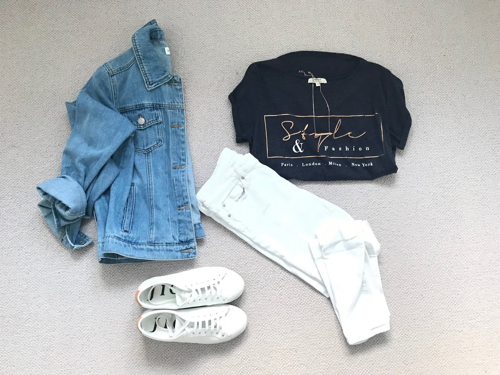 Spring outfit featuring white jeans