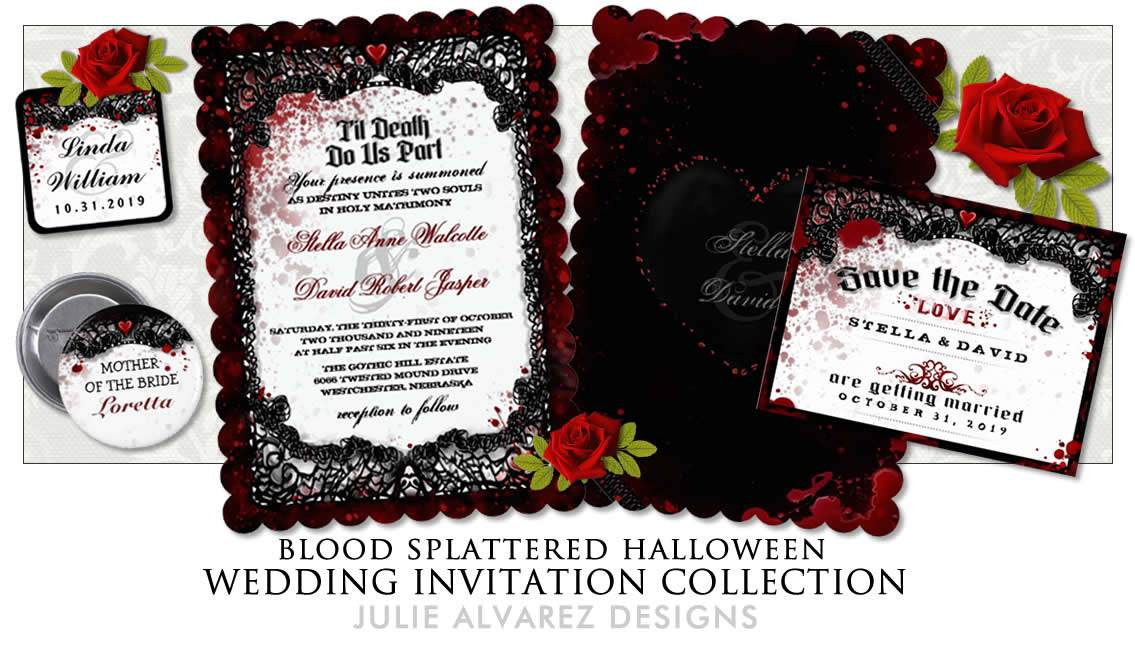 Blood Splatter Black and White Gothic Halloween wedding invitation template