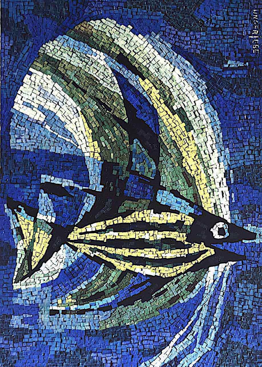 a mosaic fish, color photograph