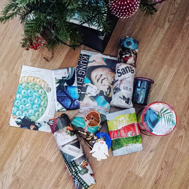 Avis og magasinblader som miljøvennlig gaveinnpakning. Foto: Ellen Dyb Wedeld