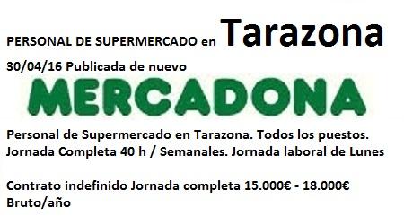 Lanzadera de Empleo Virtual Zaragoza, Oferta Mercadona Tarazona