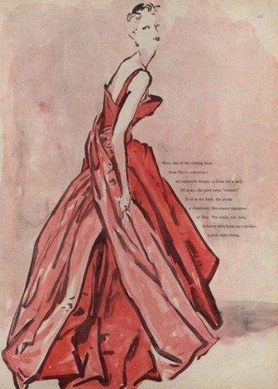 "Christian Dior Autumn/Winter 1949-50 ""Météore""  Illustration by René Bouché"