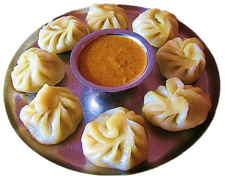 vegetarian momos aka dim sum are the popular item in northern Indian states and Nepal Bhutan china