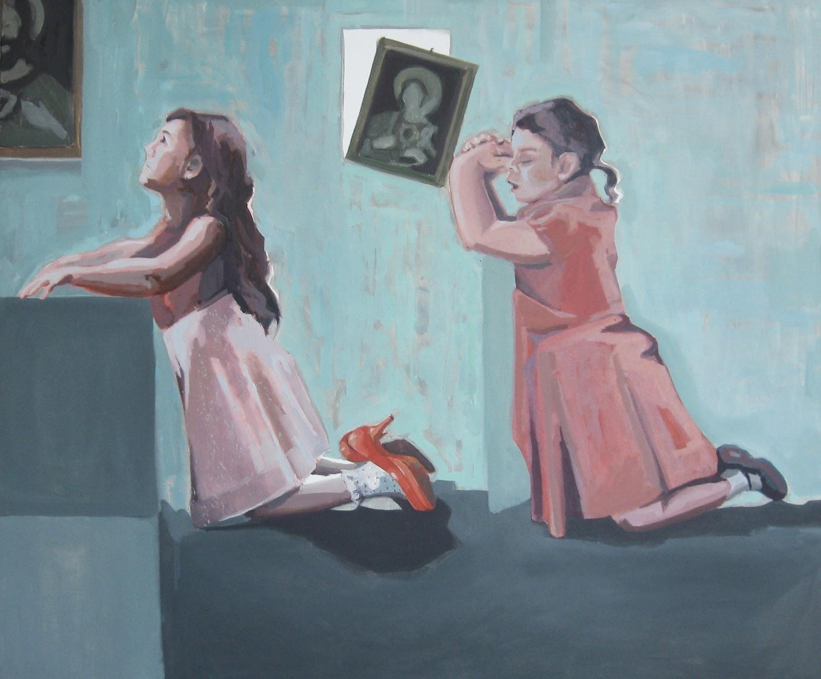malarstwo ludzie tematyka społeczna dzieci dziewczynki małe modlitwa kościół Urbaniak