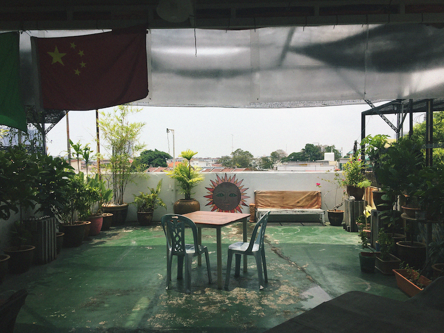 The green rooftop of Ringo's Foyer Hostel