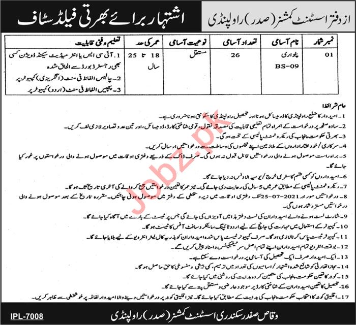 Latest Assistant Commissioner Office Admin Clerical Posts Rawalpindi 2021