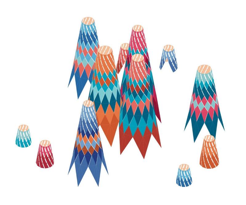 Dibujo 3D en color del Pabellón Sarbalé Ke proyectado para Coachella 2019