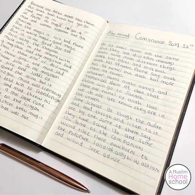 Encourage children to write notes during live Islamic Studies classes
