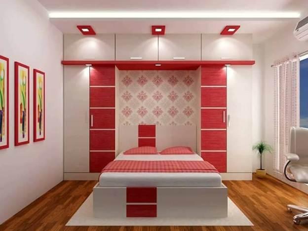 Desain ruangan kamar rumah minimalis type 45 dengan warna cat sensual