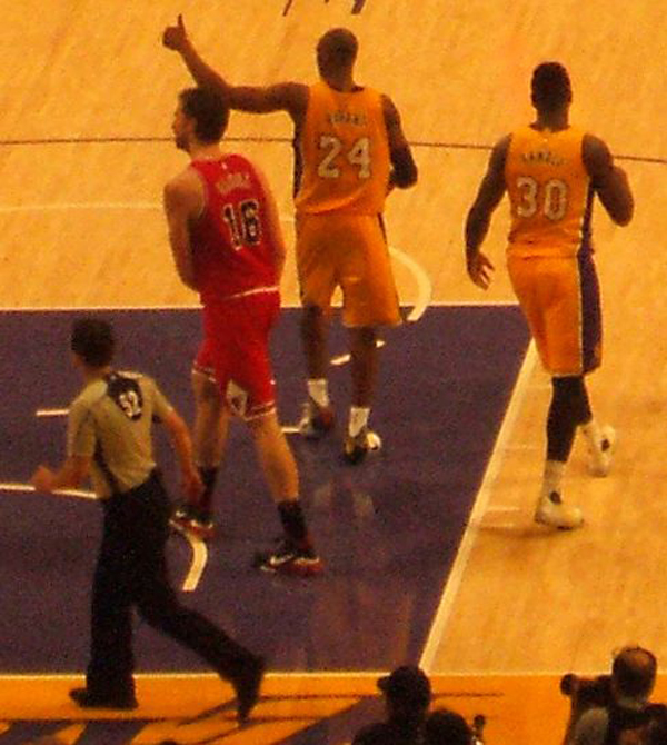 A photo I took of Pau Gasol walking past Kobe Bryant during the Lakers game against the Chicago Bulls at STAPLES Center...on January 28, 2016.