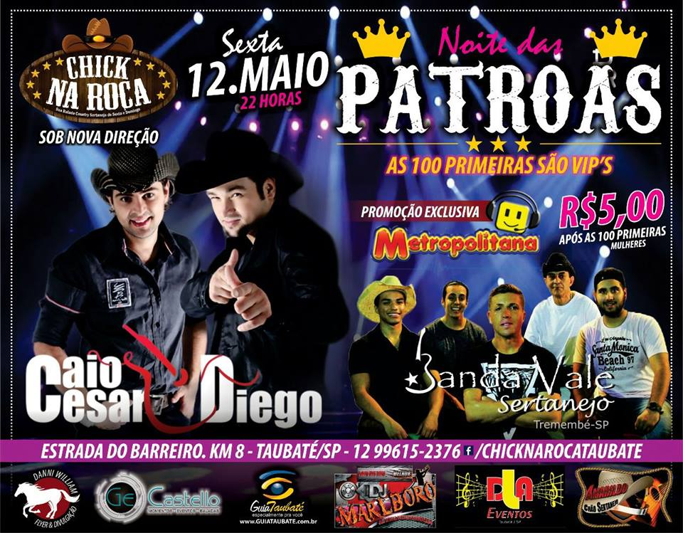 875d184bc CLUBE DO VAQUEIRO Roseira: 13/05 (sábado) – Bailão country com banda Arena  + Dj Toni Balada com o melhor do funk e dance music. Mulher vip até 24h.