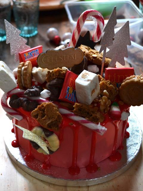 versierde kerst dripping cake