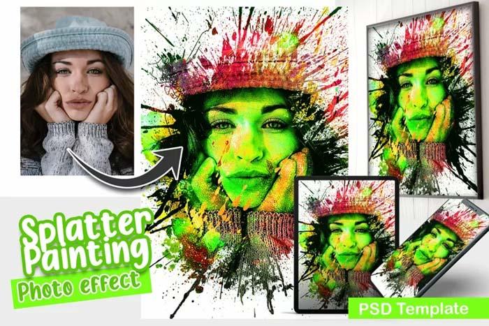 Splatter Painting PSD Photo Template