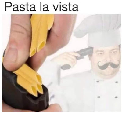 Chef shoots himself with pasta
