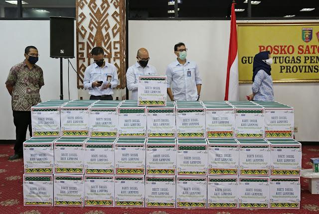 Gugus Tugas Provinsi Lampung Terima Bantuan Covid Dari Satgas BUMN, OJK, dan AAUI Lampung