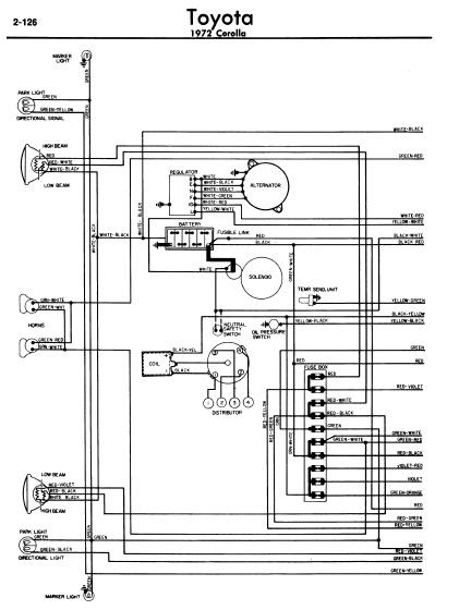 repairmanuals: Toyota Corolla 1972 Wiring Diagrams