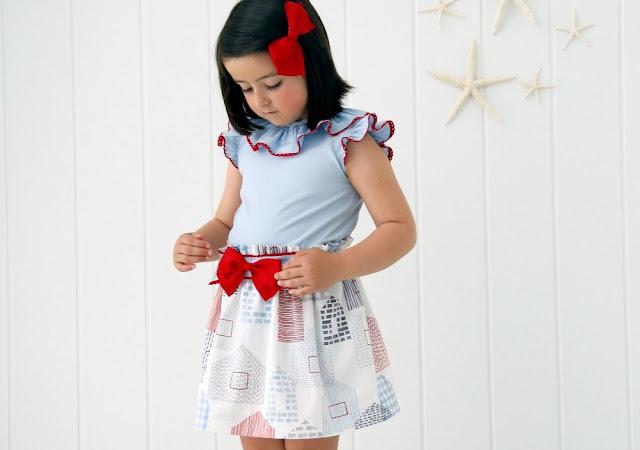 Patrón en pdf de falda y blusa para niña. Conjunto Meer.