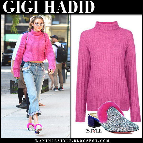 Gigi Hadid in pink knit sweater 3.1 phillip lim and silver glitter pink fur mules christian louboutin boudiva september 11 2017 new york
