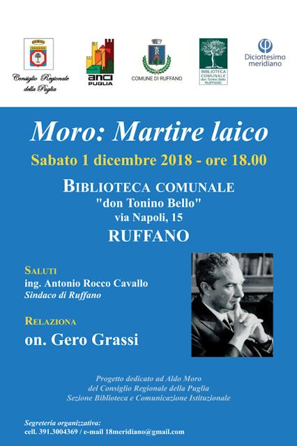 Moro Martire Laico. Il 1 dicembre nuovo appuntamento a Ruffano (LE)