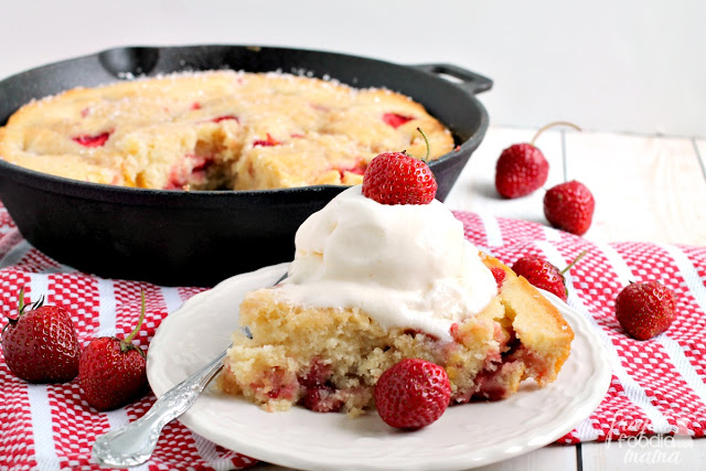 This Roasted Beet & Strawberry Buttermilk Skillet Cake combines sweet, roasted beets with locally grown strawberries in a moist & buttery buttermilk cake.