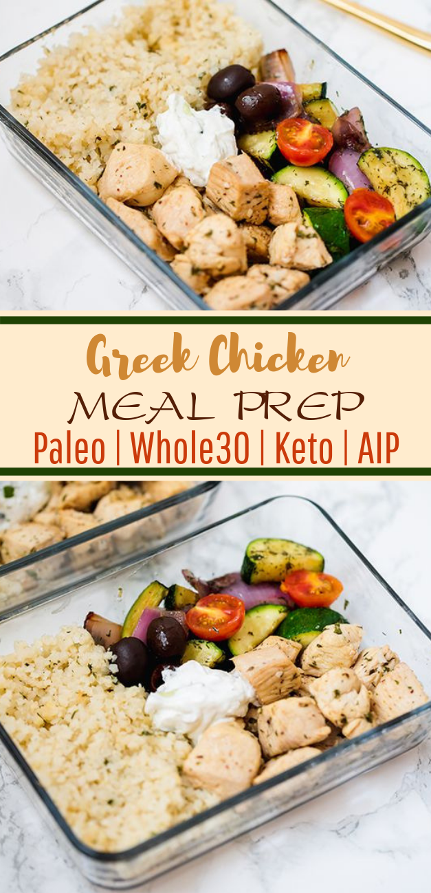 One Pan Greek Chicken Meal Prep (Paleo, Whole30, Keto, AIP) #healthy #lunch