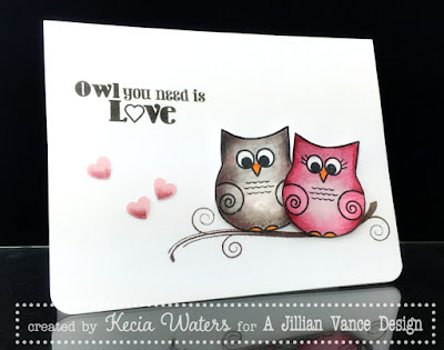 AJVD, Kecia Waters, Valentine, Owls, multimedia coloring