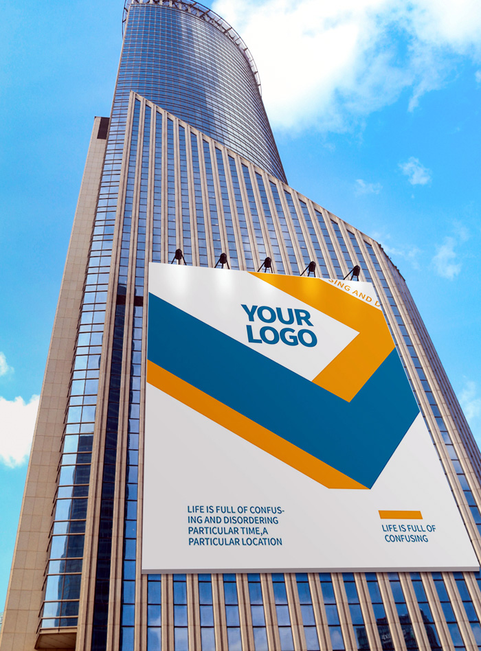 Large Shopping Mall Outdoor Building Poster Advertising Mockup