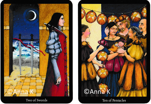Anna K Tarot Two of Swords Ten of Pentacles