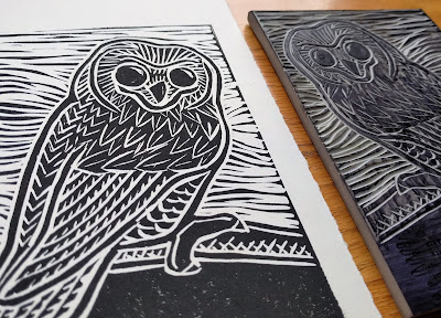 block print printmaking owl