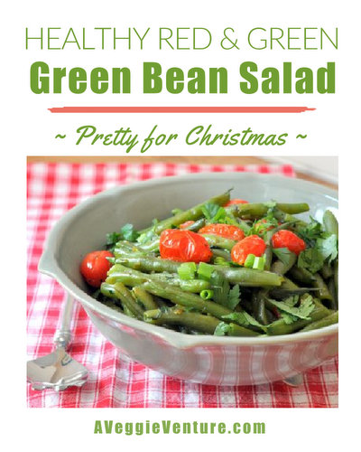 Healthy Red & Green Green-Bean Salad ♥ AVeggieVenture.com, pretty for Christmas, healthy for year-round. Low Carb. Weight Watchers Friendly. Gluten Free. Vegan.