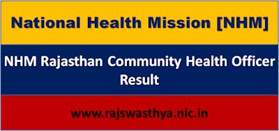 NHM CHO Result 2020, NHM Rajasthan Community Health Officer Result Cut off marks