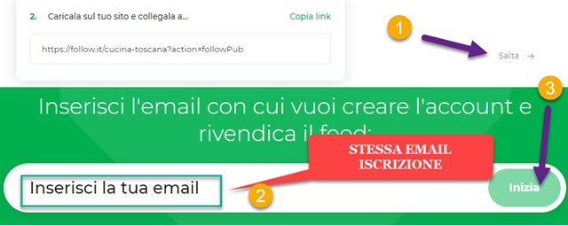 immettere indirizzo email